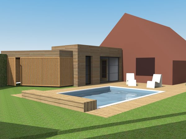 Etudes pour l'extension d'une maison individuelle avec piscine et carport